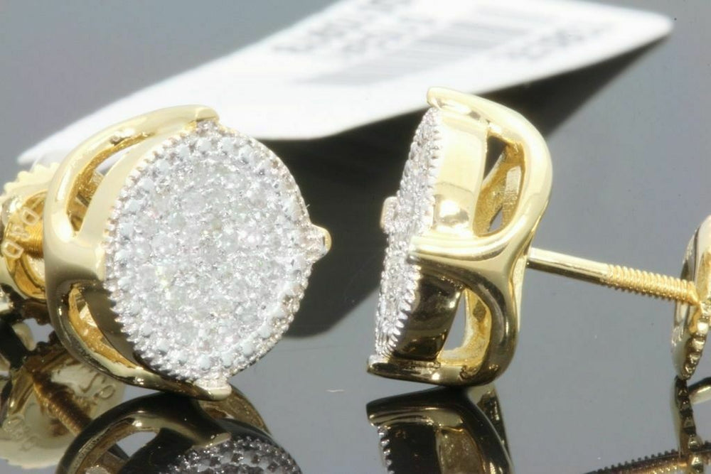 .25 CARAT STERLING SILVER YELLOW GOLD PLATED MENS WOMENS 9mm 100% REAL DIAMONDS EARRINGS STUDS