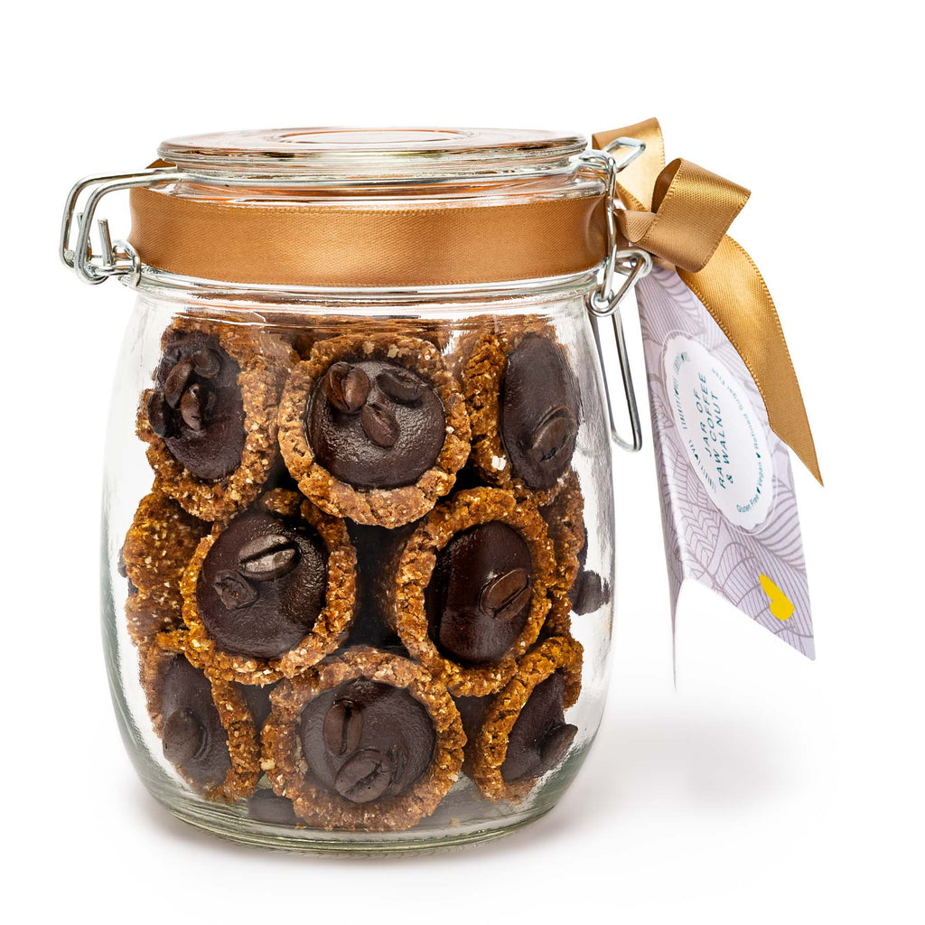 Vegan Mini Tarts 24 x 25g Dairy Free/Gluten Free -  750ml Gift Jar - Coffee & Walnut
