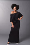 Camille - Black Long Fitted Skirt