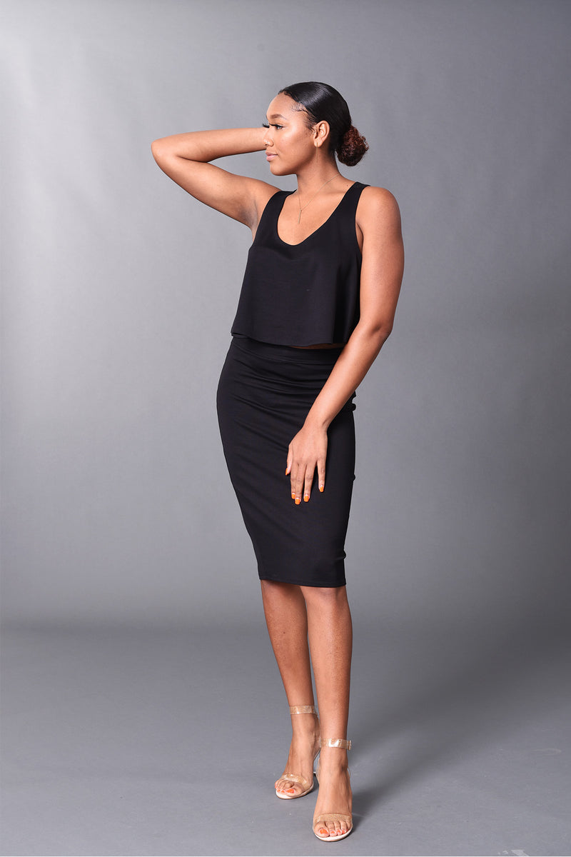 Kennedy - Black Perfect Pencil Skirt - TN-53