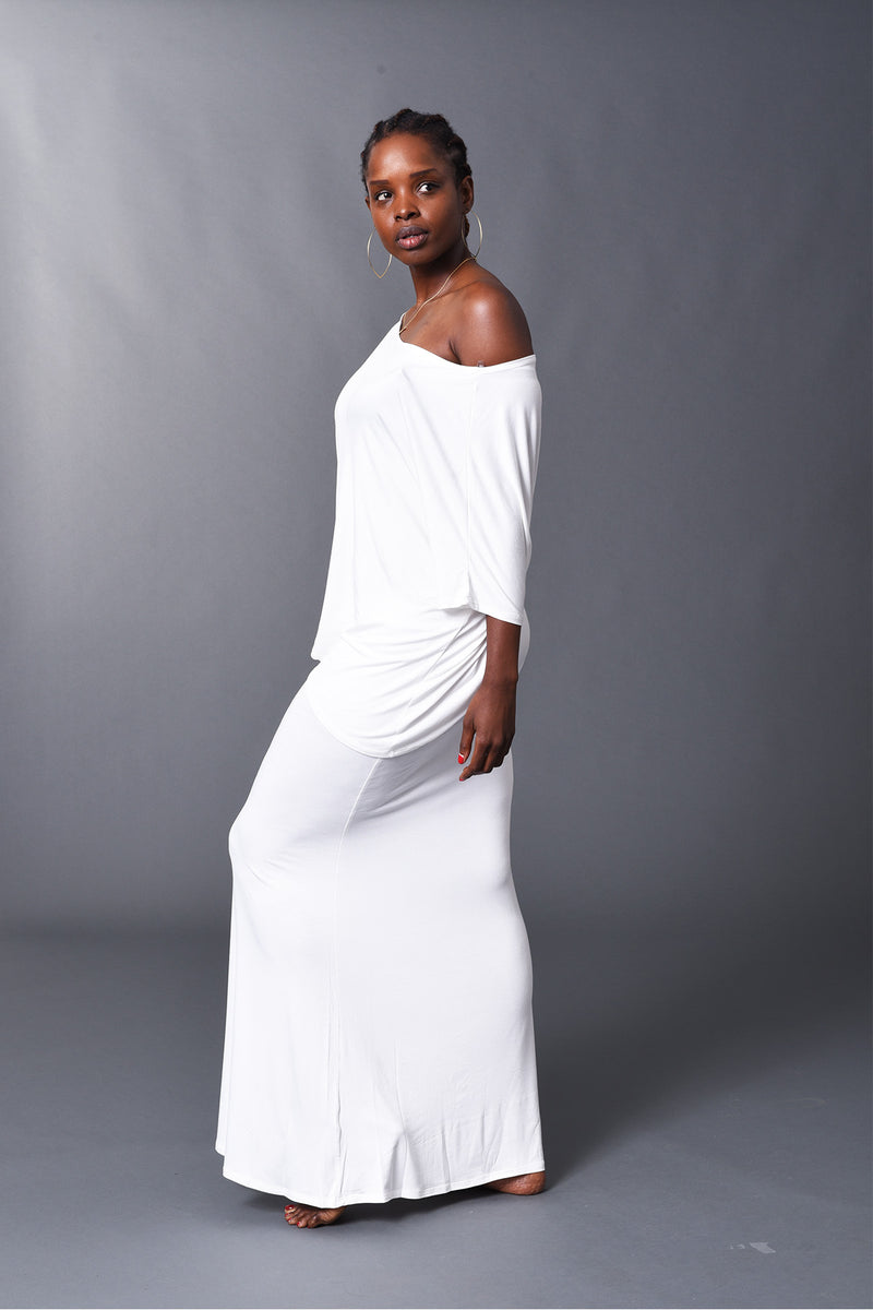 Camille - White Long Fitted Skirt - TN-52