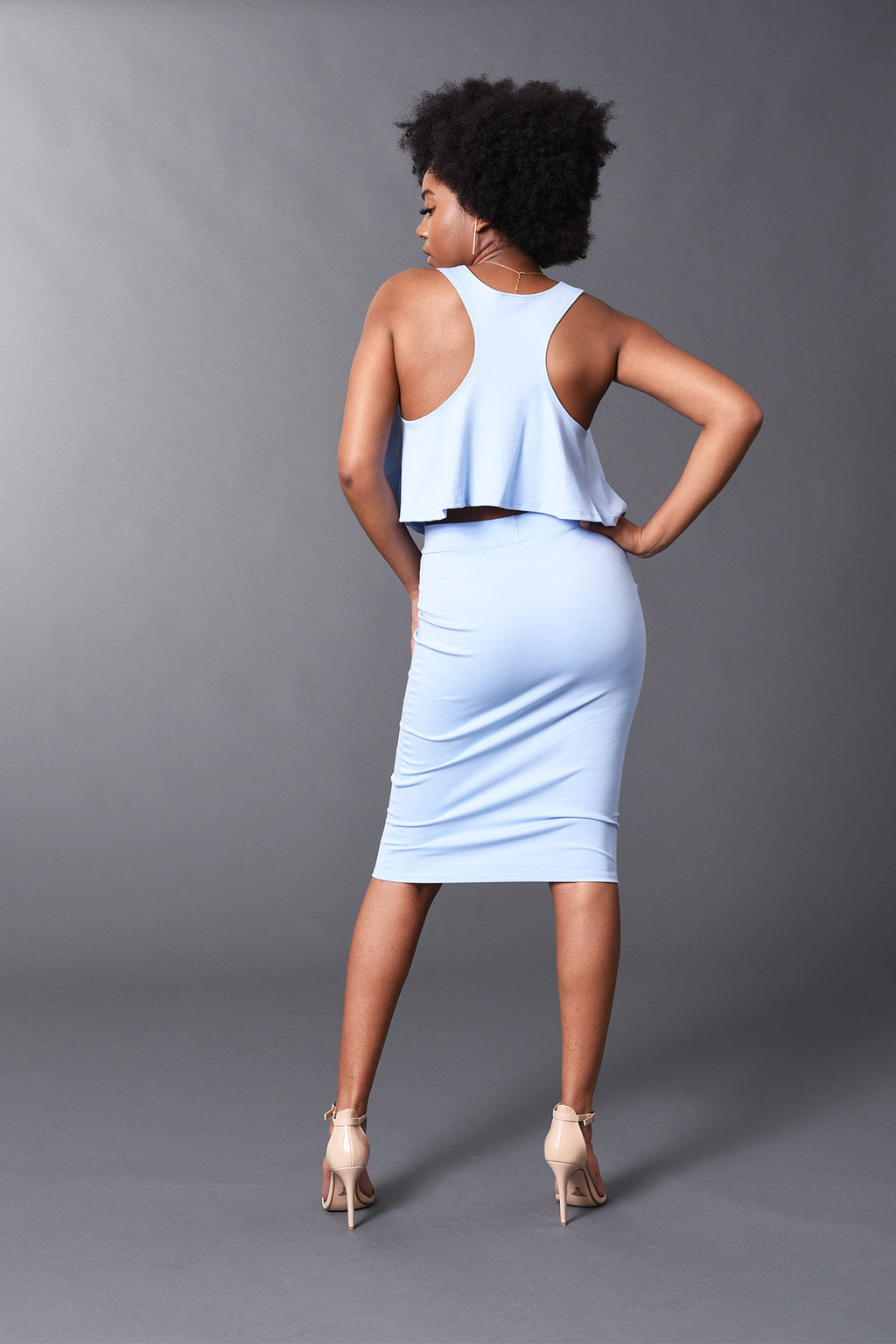 Kennedy - Baby Blue Perfect Pencil Skirt - TN-53