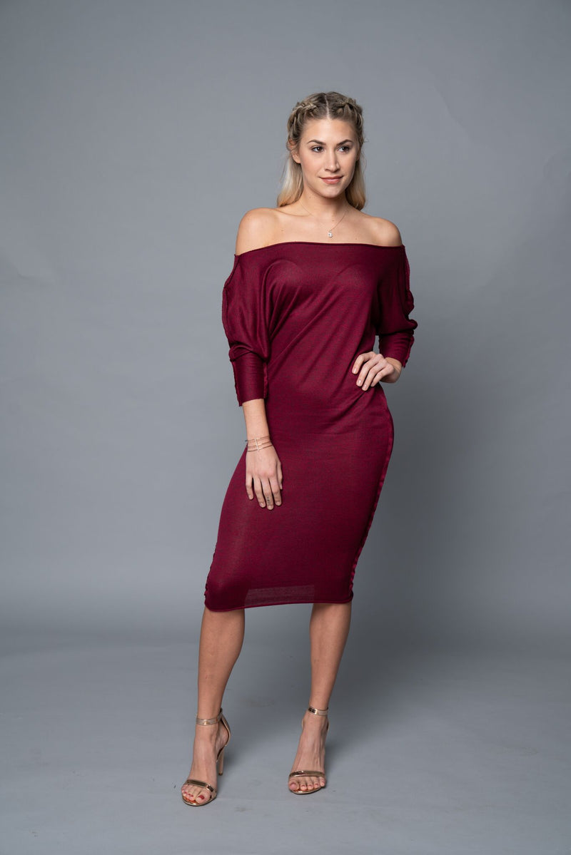 Kendra - Wine Red  Mid Calf Dress