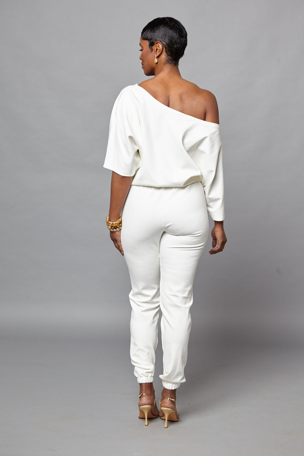 Micki - Cream Short Sleeve One Piece Jumper