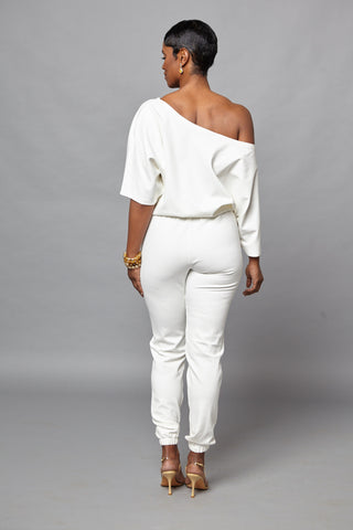 Micki - White Short Sleeve One Piece Jumper