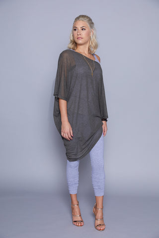 Caroline - Olive Sheer Oversized Angled Top/Dress
