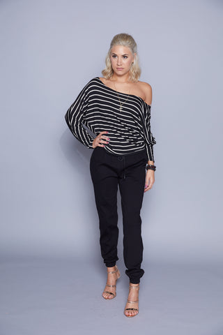 Christy - Black Drawstring Pants