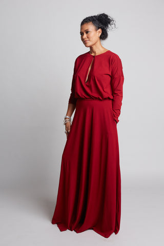 Carrie - Red Keyhole Dress (Pre-order)