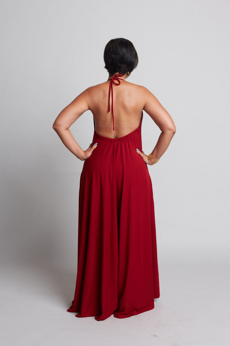 Rachel - Red Halter Dress (Pre-Order)