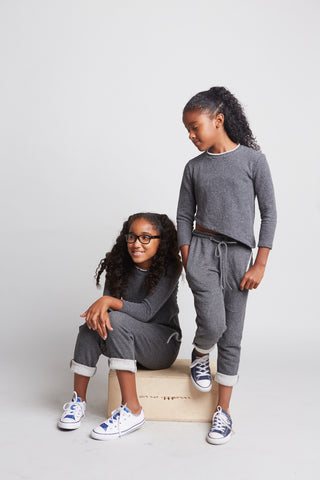 Kenzie - Angled Girl's Sweatshirt (Dark Grey or Light Grey)