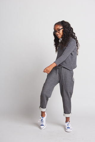 Gabby - Drawstring Girl's Joggers (Dark Grey or Light Grey)