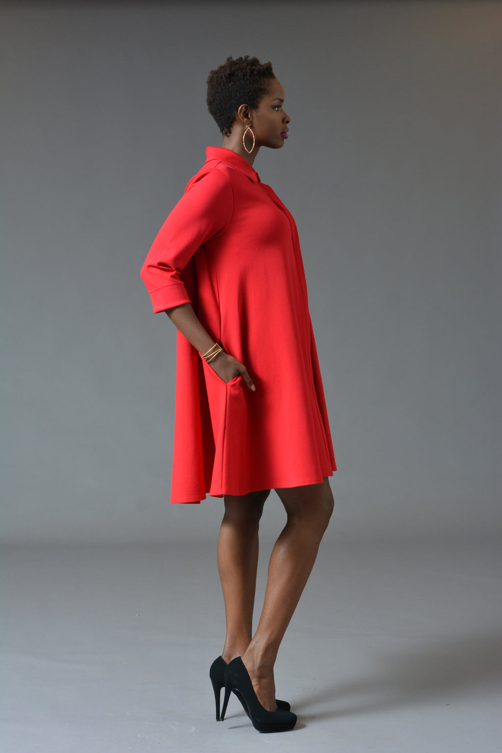 Charline - Red Swing Dress Coat