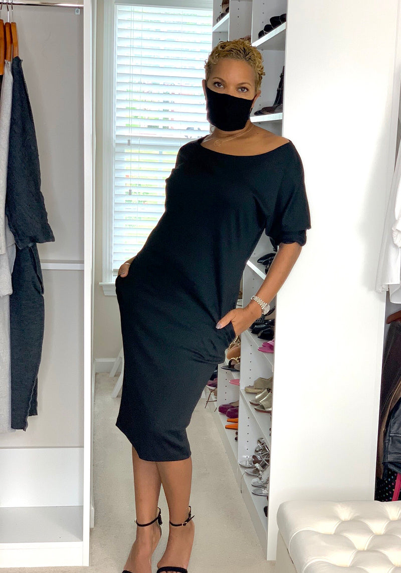 Danielle Dress With Pockets - Black - TN-120