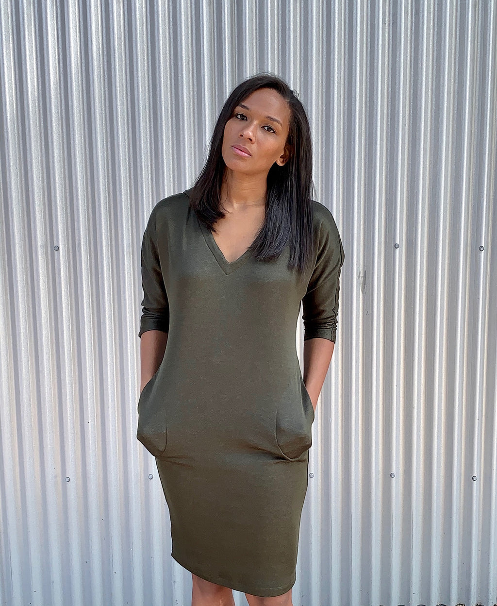 Cool Soror Hoodie Dress With Pockets - Olive Green - CS-20