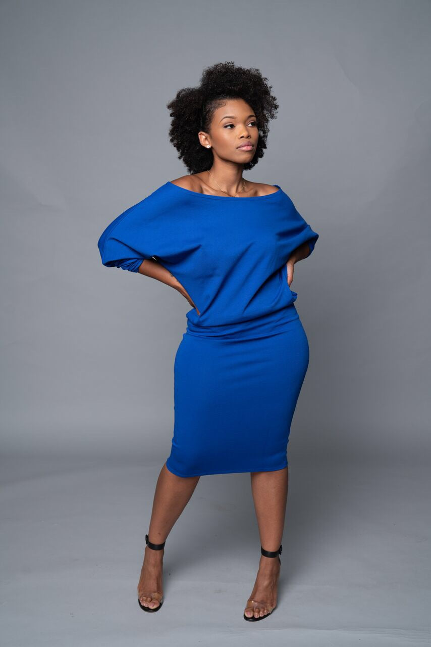 Jenny - Royal Blue Long Sleeve Off Shoulder Top