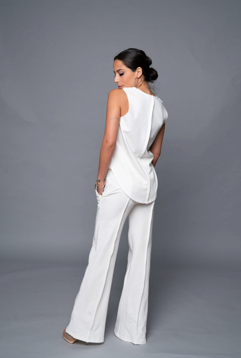 Yetta - Creamy White Fall Wide Leg Pants