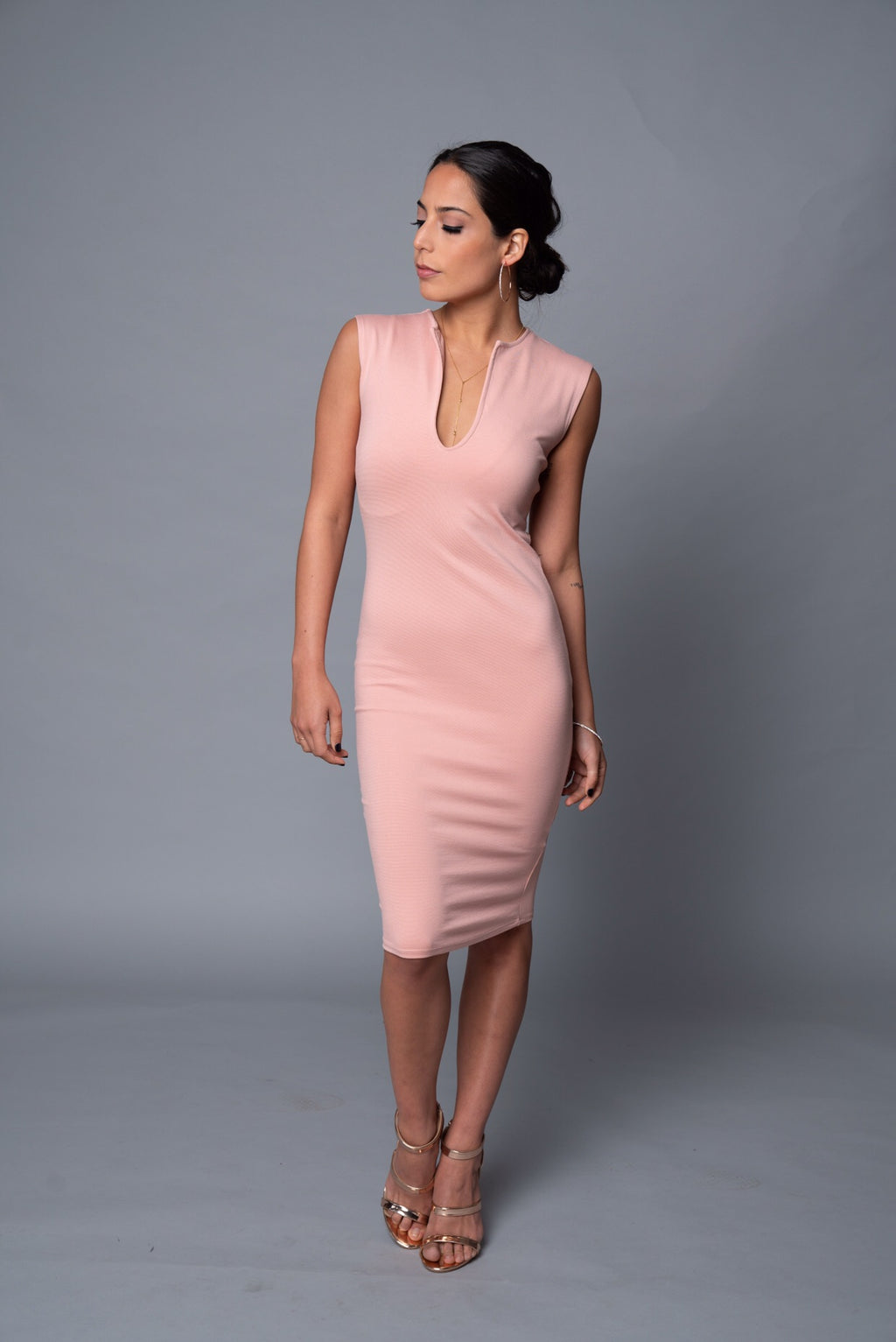 Tara - Blush Pink Signature V-Neck Dress - TN-9