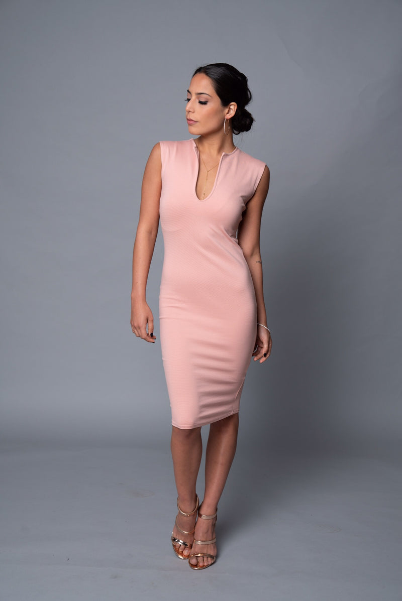 Tara - Blush Pink Signature V-Neck Dress