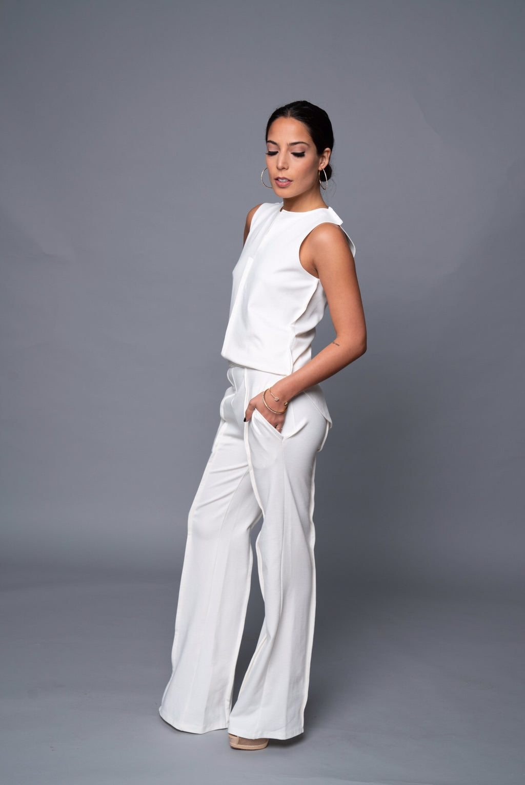 Yetta - Off White Wide Leg Pants - TN-113