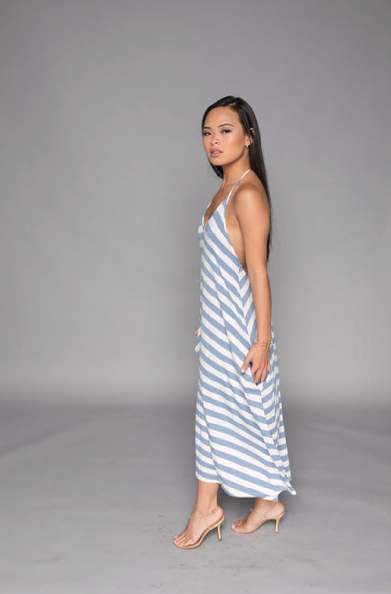 Kate - Denim Stripe Short Halter Dress