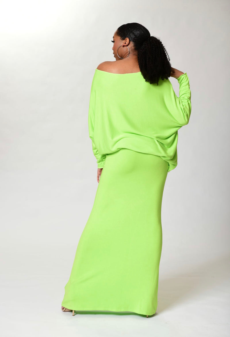 Lisa - Neon Green Long Sleeve Angled Top - TN-51