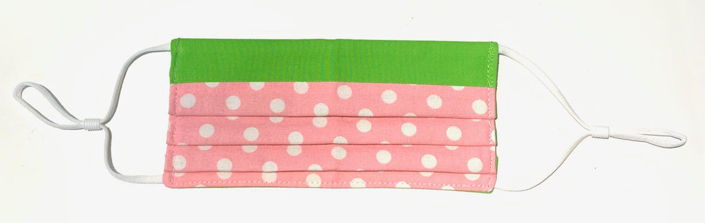 Polka Dot Pink and Green Mask -TN-123