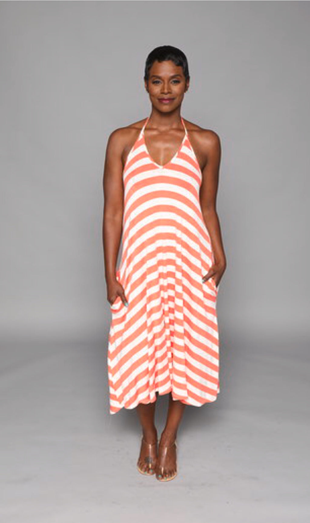 Kate - Melon Stripe Short Halter Dress