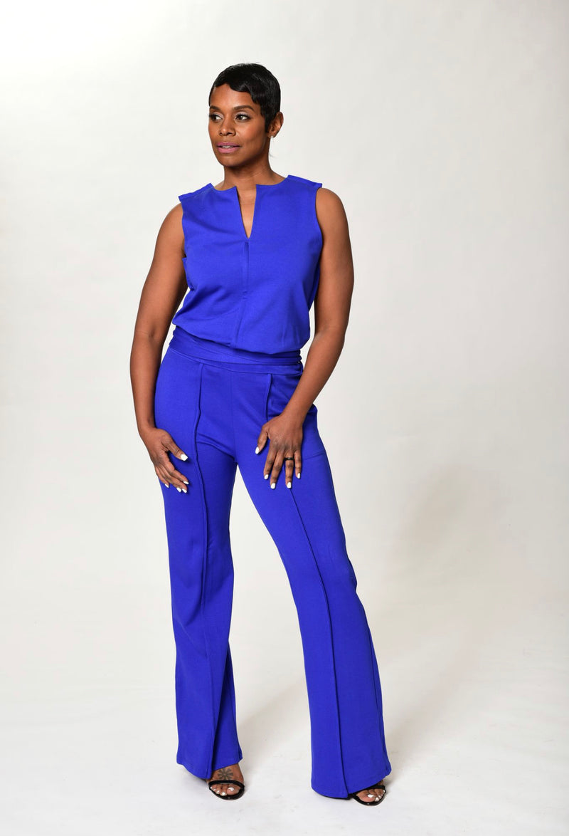 Yetta - Royal Blue Wide Leg Pants - TN-113