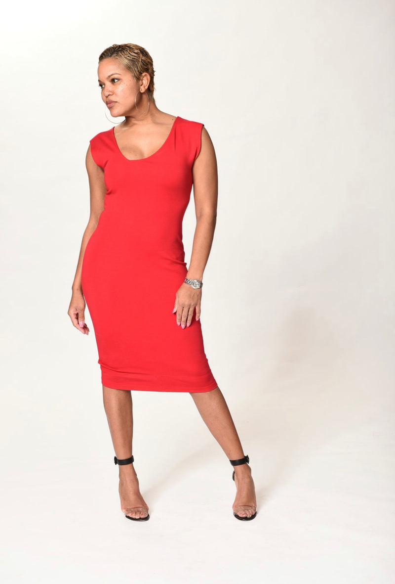 Reece - Red Side V Dress - TN-130