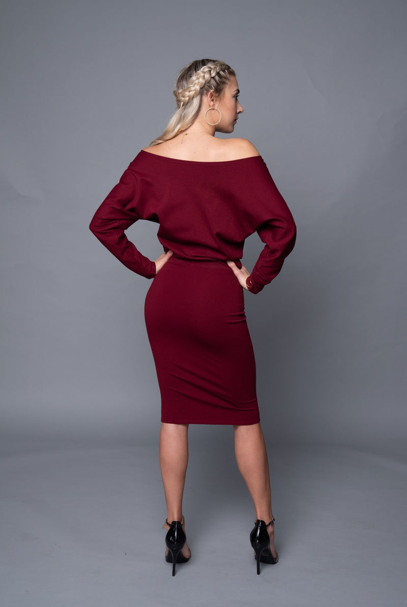 Jenny - Wine Red Long Sleeve Off Shoulder Top