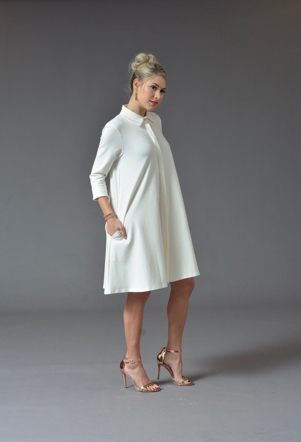 Charline - Swing Dress Coat (Available in Cream, Grey and Red)