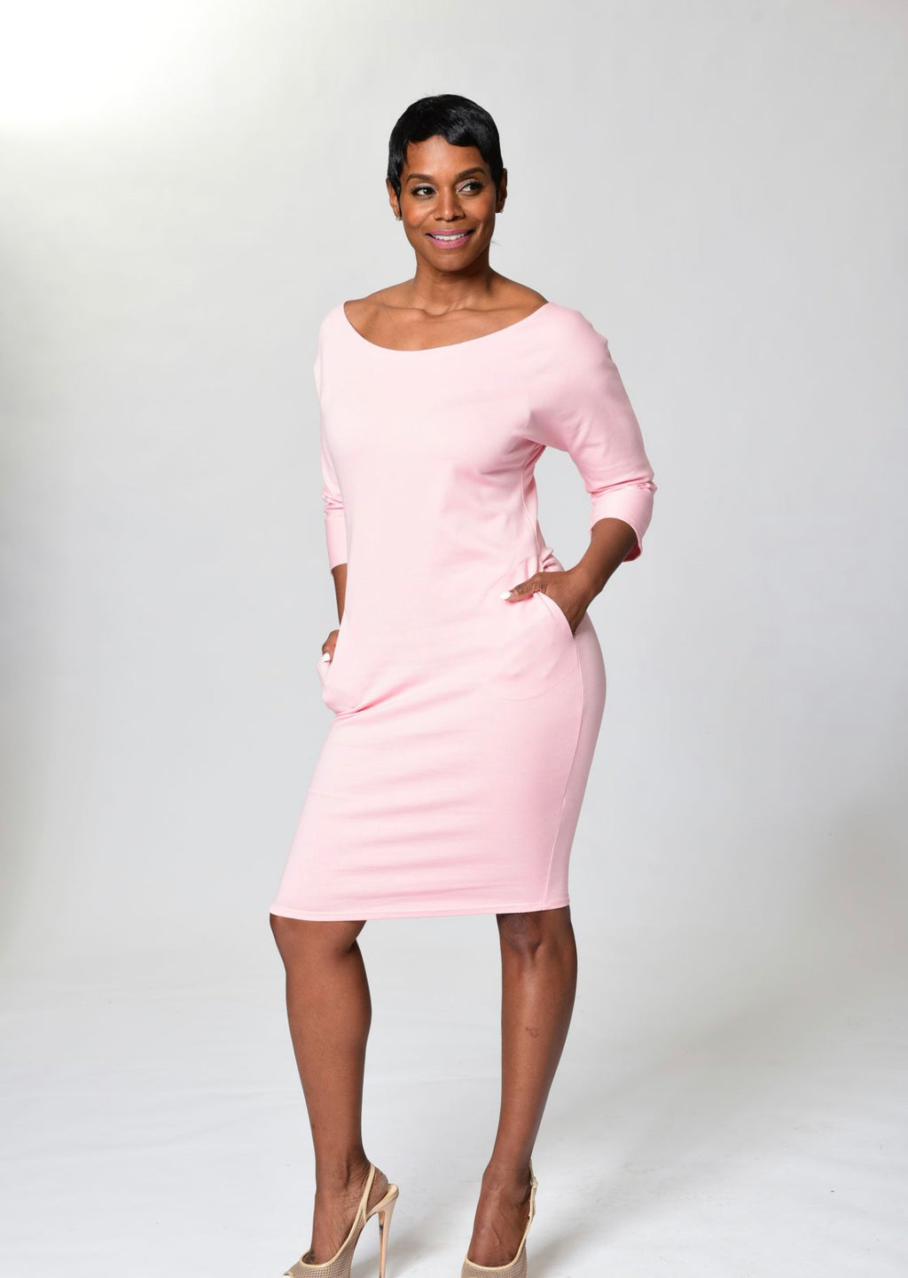 Danielle Dress With Pockets - Pink - TN-120