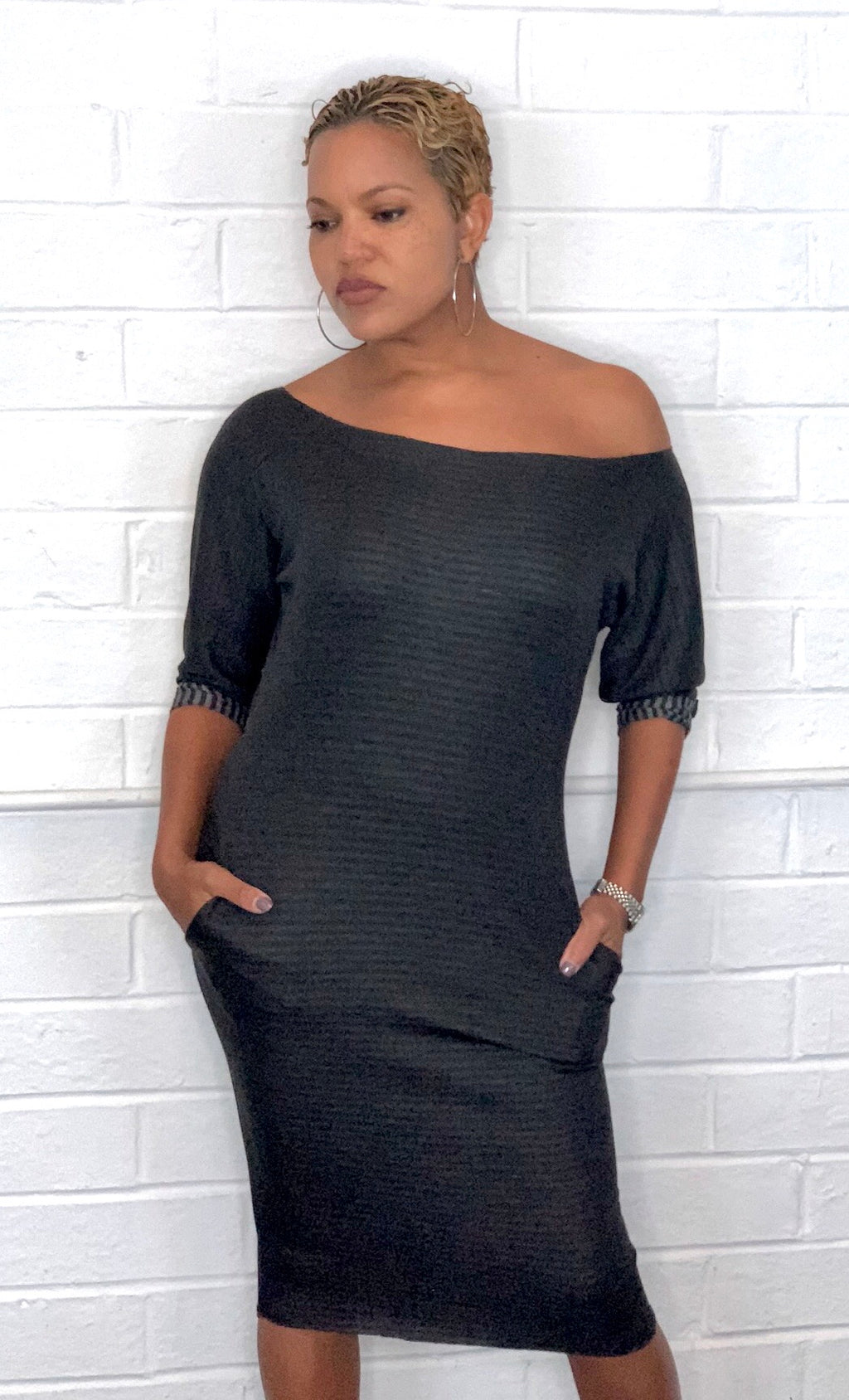 Bri - Dark Grey Reversible Sweatshirt Dress TN-122