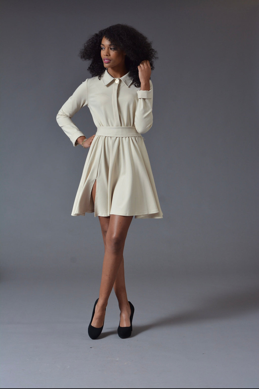 Michelle - Taupe L/S Classic Cocktail Dress