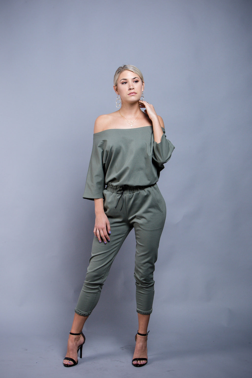 Micki - Olive Short Sleeve One Piece Jumper