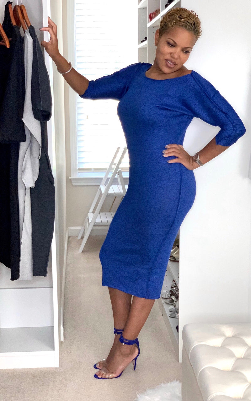 Kendra - Cobalt Blue Mid Calf Dress