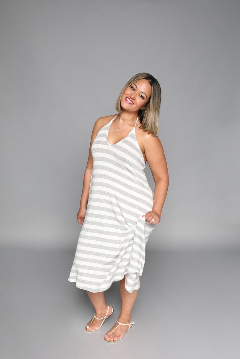 Kate - Heather Grey Stripe Short Halter Dress