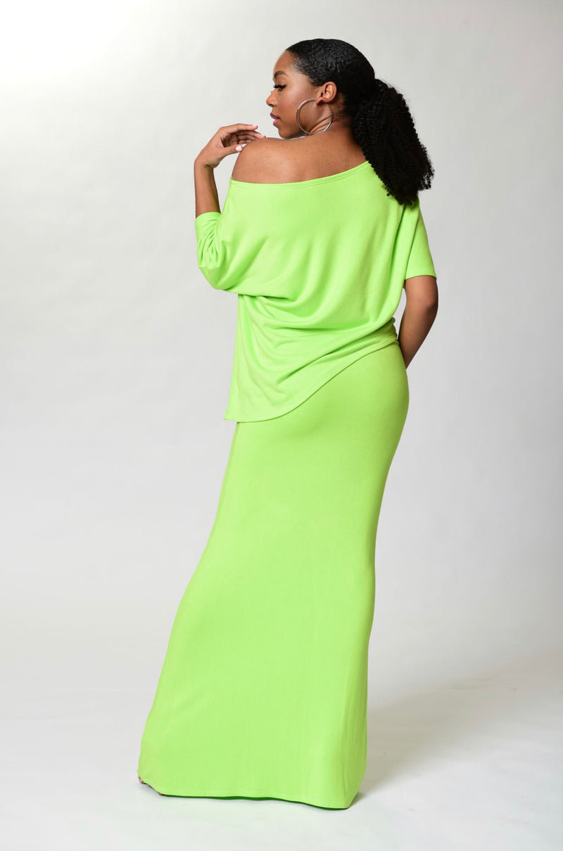Camille - Neon Long Fitted Skirt - TN-52
