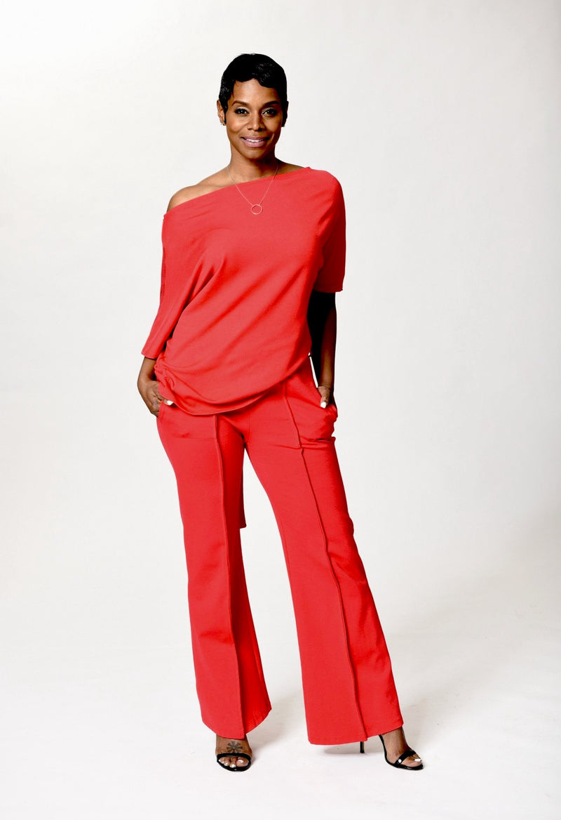 Yetta -  Red Wide Leg Pants - TN-113