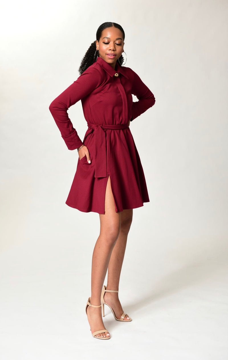 Michelle - Wine L/S Classic Cocktail Dress - TN-30