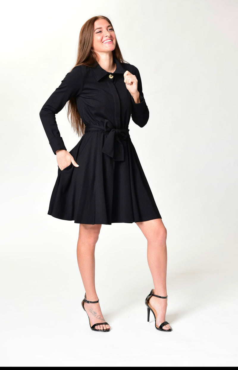 Michelle - Black L/S Classic Cocktail Dress - TN-30
