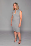 Tara - Oxford Grey Signature V-Neck Dress - TN-9
