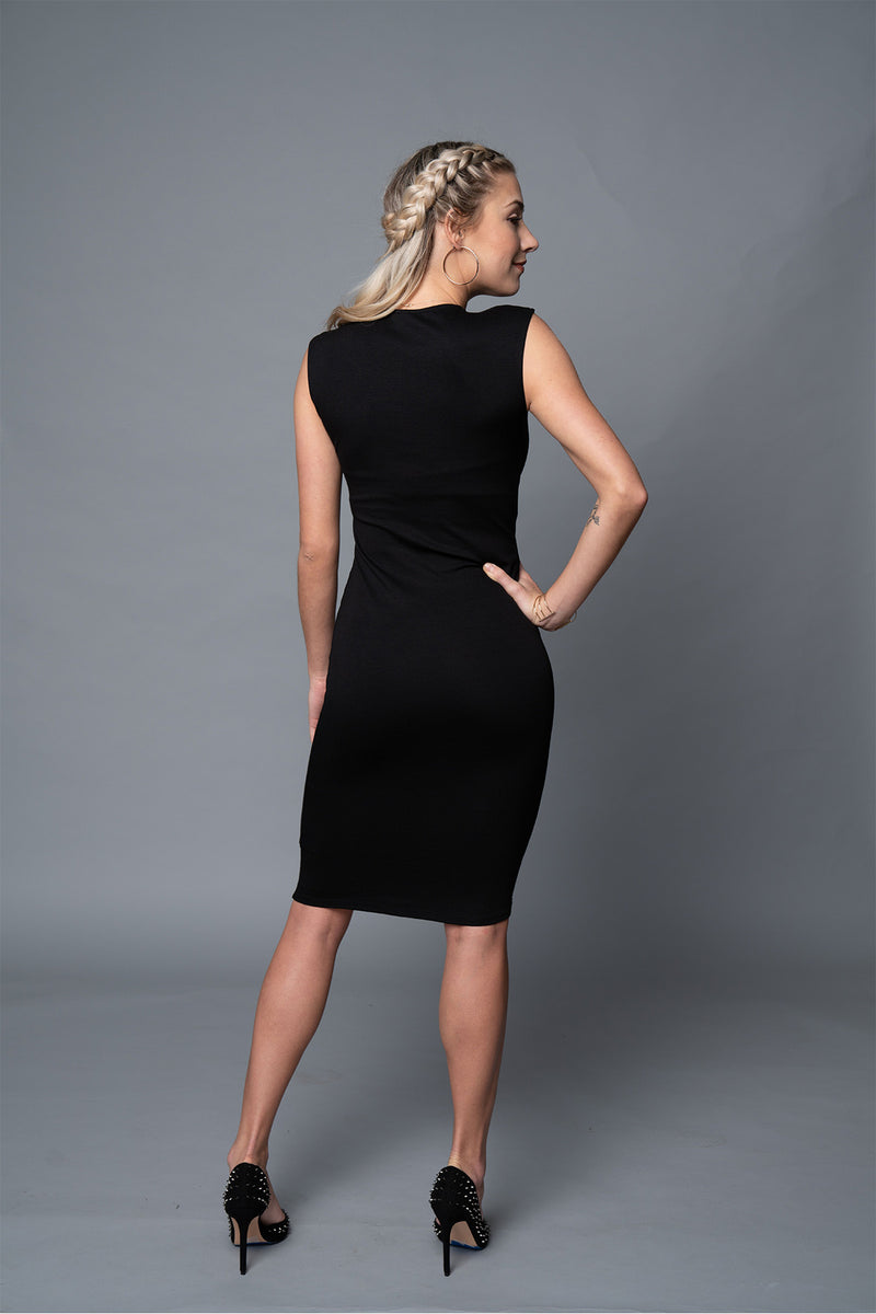 Tara - Black Signature V-Neck Dress - TN-9