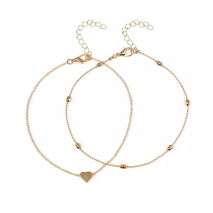 Heart Anklet Set