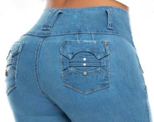 Load image into Gallery viewer, Alicia Mid Waist Light Blue Jeans