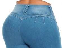 Load image into Gallery viewer, Margarita Mid Waist Light Blue Ripped Jeans