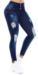 Mariana Push Up Jeans Blue Ripped