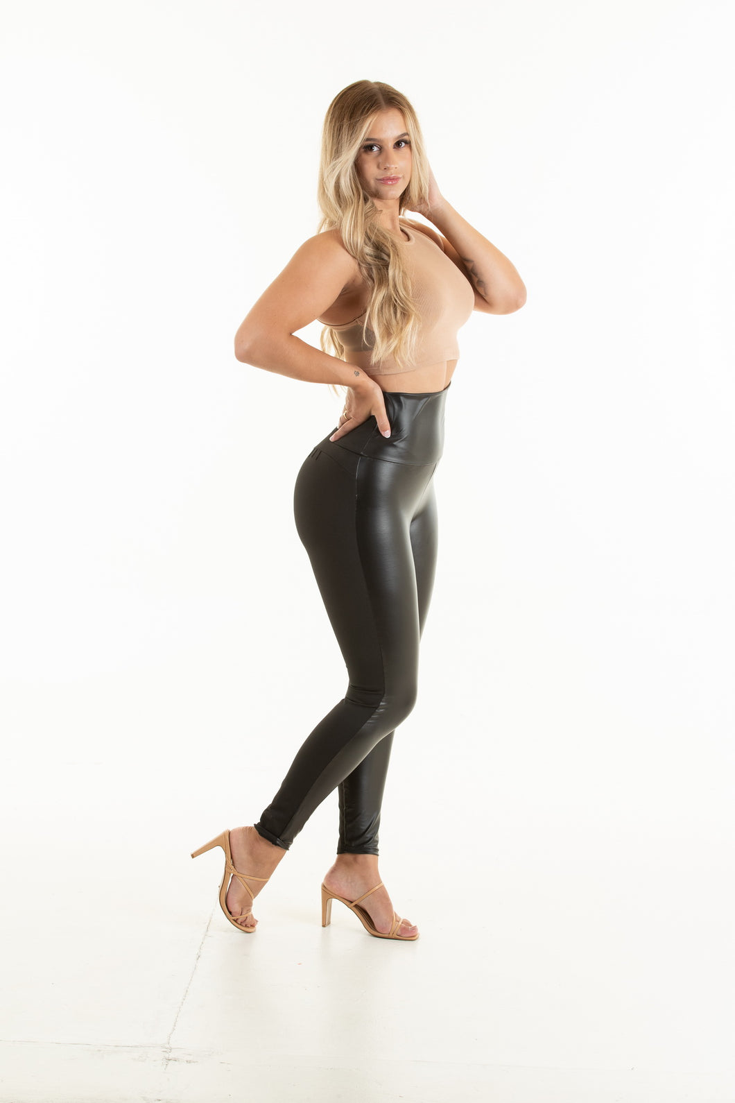Half Leather Look Body Shaping Pants