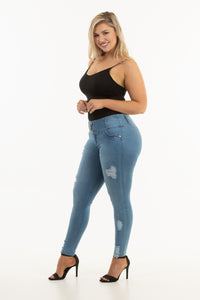 Margarita Mid Waist Light Blue Ripped Jeans