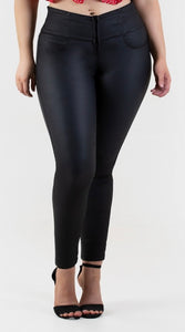 Kim Push Up Jeans Leather Look Black